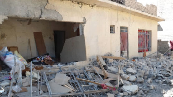 Ruins of the home of a council member of the Qarah Tabah District blown up by ISIS operatives (Al-Sumaria News, January 6, 2018)