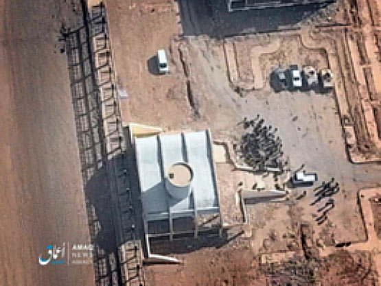 Photo which, in the ITIC's assessment, was taken by a drone in an SDF staging area, before a suicide bombing attack by a car bomb. A white van which was used a car bomb is seen in the upper part of the photo (Akhbar Al-Muslimeen, January 21, 2018)