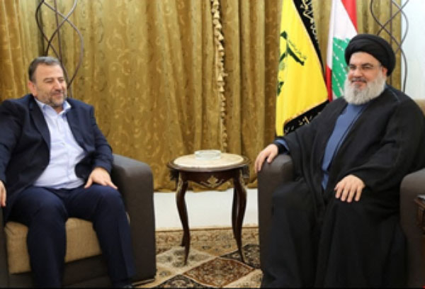 Saleh al-Arouri, deputy head of Hamas' political bureau, experienced in handling terrorist squads in Judea and Samaria, meets in Beirut with Hassan Nasrallah, Hezbollah's secretary general (al-Mayadeen, November 1, 2017).