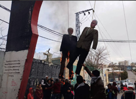Donald Trump and Mike Pence hung in effigy (Palinfo Twitter account, January 27, 2018).