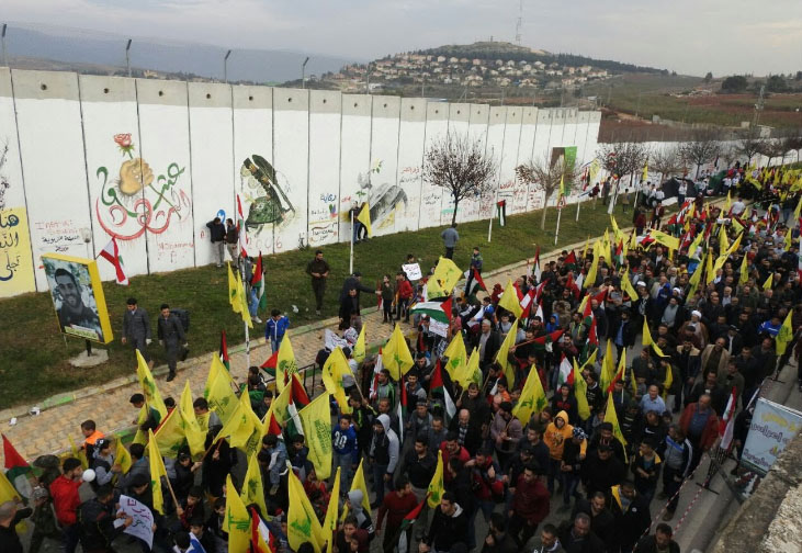 Hezbollah operatives march near the Israeli border in solidarity with Jerusalem (al-Manar TV, December 29, 2017).