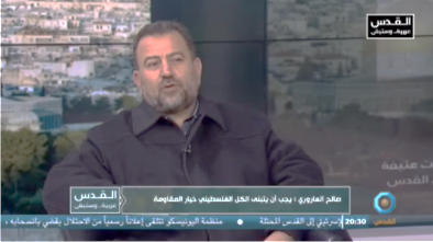 Saleh al-Arouri, deputy head of Hamas' political bureau, during an interview (al-Quds YouTube satellite channel, date, 2018).