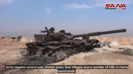 Tank of the Headquarters for the Liberation of Al-Sham destroyed during the clashes around Atshan and the rural area north of Hama (SANA's YouTube channel, December 30, 2017)