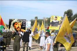 """At the right is a picture of Yusuf al-Shaib, the Fatah coordinator of student activities at Bir Zeit University, detained by the IDF on December 16, 2017. At the left is a picture of Yasser Arafat; the Arabic reads """"A million shaheeds are marching to Jerusalem"""" (Facebook page of the Fatah student movement at Bir Zeit University, January 3, 2018)."""