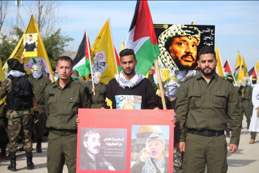 "Pictures of Yasser Arafat (right), and George Habash (left) the founder of the notorious terrorist organization, Popular Front for the Liberation of Palestine. The Arabic reads, ""No peace and no coexistence with Zionism"" (Facebook page of the Fatah student movement at Bir Zeit University, January 3, 2018)."