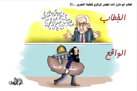 "The Arabic reads, ""The speech …. and the situation on the ground."" A Hamas cartoon response to Mahmoud Abbas' speech. Mahmoud Abbas babbles meaninglessly, while in reality Israel does whatever it pleases in Judea and Samaria (Twitter account of Palinfo, January 15, 2018)."