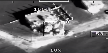 The attack on the base of the squad that carried out the mortar attack at the Hmeymim base on December 31, 2017 (Facebook page of the Russian Ministry of Defense, January 12, 2018)