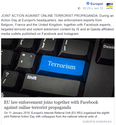 Facebook post on the cooperation between Europol and Facebook in the battle against ISIS and Al-Qaeda terrorist propaganda on Facebook and Instagram (Europol's Facebook account, January 12, 2018)