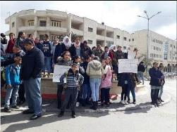 Demonstration in the al-Am'ari refugee camp in Ramallah, with the participation of UNRWA school students (Facebook page of 'Anata Mubasher, January 28, 2018).