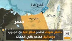 ISIS blocks the Gaza Strip from the south and Israel surrounds it from the other directions.