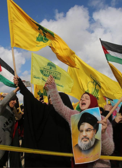 Hezbollah-organized demonstration protesting Trump's declaration. The demonstration was held near the Israeli-Lebanese border (Palinfo Twitter account, January 28, 2018).