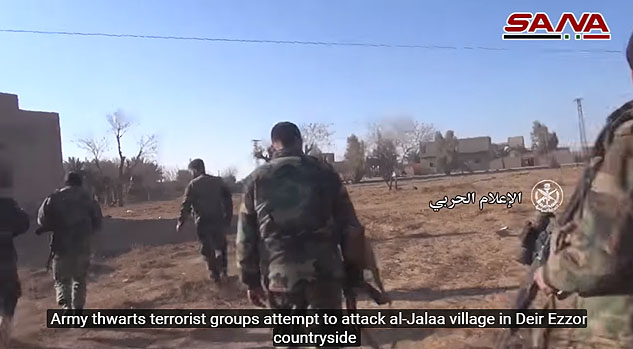 Syrian army soldiers searching for ISIS operatives in the village of Al-Jalaa, north of Albukamal. Those operatives came from the desert and tried to take control of the village, but failed (SANA's YouTube channel, January 28, 2018).