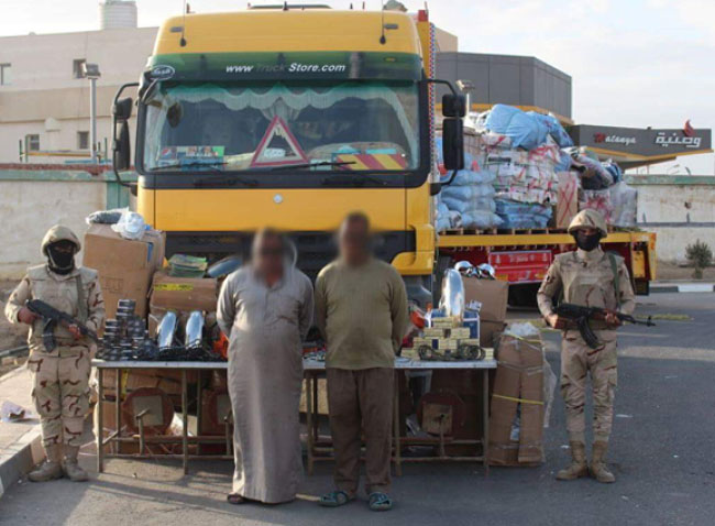 Truck stopped by the Egyptian army in one of the crossings into central Sinai. It contained large amounts of spare parts for motorcycles used by ISIS operatives (official Facebook page of the Spokesman of the Egyptian Armed Forces, January 27, 2018)