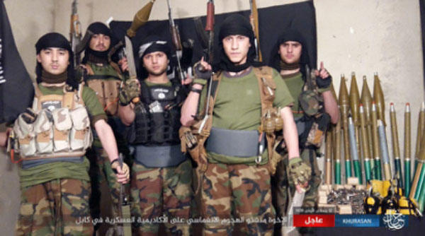 The five ISIS operatives who carried out the suicide bombing attack against an Afghan army base near the military academy (ISIS's Khorasan Province, as posted in the Terror Monitor Twitter account, January 30, 2018)