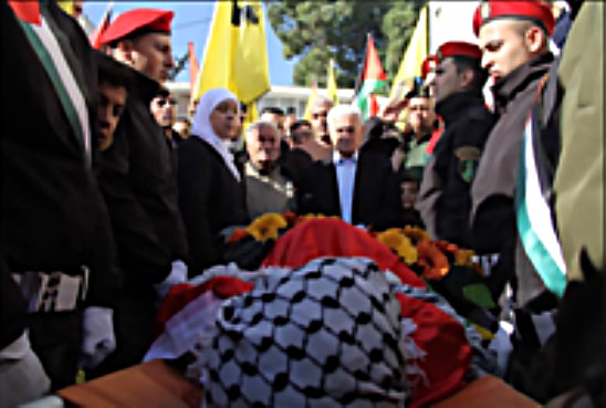Layla Ghanem, governor of the Ramallah district, and Abbas Zaki, member of Fatah's Central Committee, attend the funeral of Abu Naim (Facebook page of Layla Ghanem, January 31, 2018).