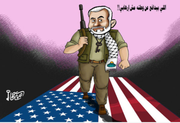 Cartoon drawn by Hamas-affiliated Omaya Joha in support of Isma'il Haniyeh. The Arabic reads,