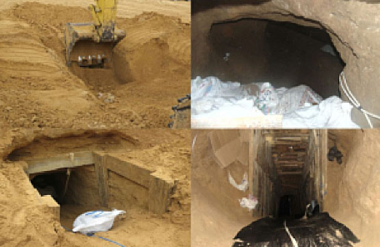 The entrance to a tunnel discovered by the Egyptian army in the border area of the northern Sinai Peninsula.