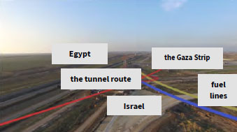 The route of the tunnel from the Gaza Strip to Egypt through Israeli territory under the Kerem Shalom crossing (Facebook page of the IDF spokesperson, January 14, 2018)