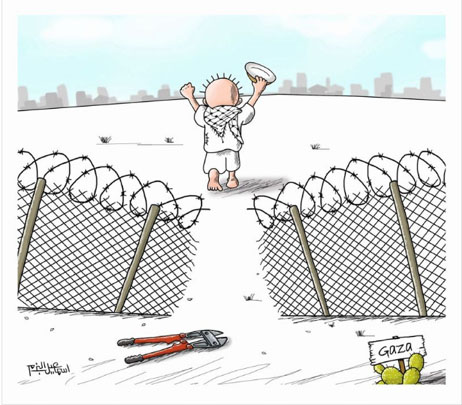 Cartoonist by Gazan Isma'il al-Bazam calling on Palestinians to break through the border security fence (Facebook page of Isma'il al-Bazam, January 29, 2018). The figure seen from behind is Handala, a symbol of the Palestinian refugees.