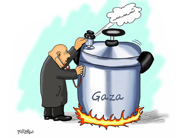 Cartoon by Isma'il al-Bazam: the Gaza Strip as a pressure cooker (Facebook page of Isma'il al-Bazam, February 9, 2018)