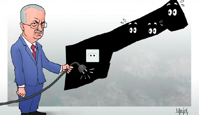Hamas cartoon blames the electricity crisis in the Gaza Strip on Rami Hamdallah, prime minister of the Palestinian national consensus government (alresala.net, February 19, 2018).