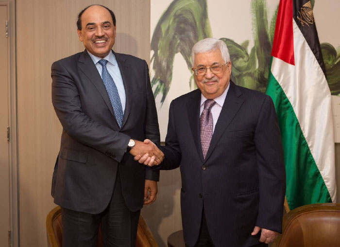 Mahmoud Abbas meets with the Kuwaiti foreign minister in New York before his speech in the UN Security Council (Twitter account of the Kuwaiti foreign ministry, February 20, 2018).
