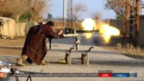 ISIS operatives shooting at Syrian army positions on the outskirts of Albukamal (Akhbar Al-Muslimeen, February 14, 2018)