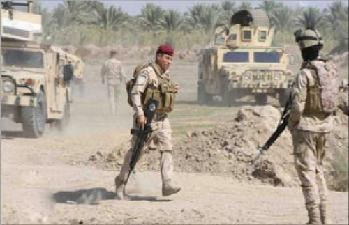 The Iraqi army during the security activity (Iraqi News Agency, February 15, 2018)