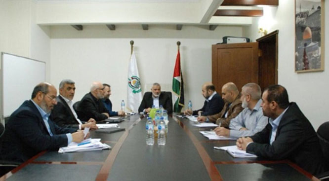 Meeting of Hamas' political bureau in Cairo (Twitter account of political bureau member Izzat al-Rishq, February 23, 2018).