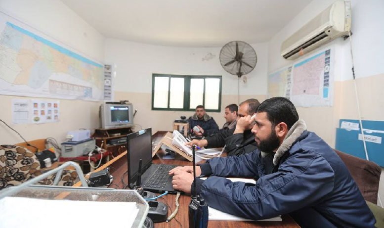 The Hamas ministry of the interior in the Gaza Strip checks emergency preparations (Facebook page of the Hamas ministry of the interior in the Gaza Strip, February 21, 2018).