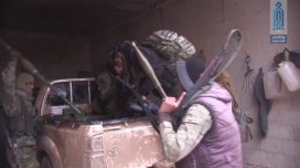 Operatives of the Headquarters for the Liberation of Al-Sham preparing for an attack against Syrian army positions in Tell Sultan (Ibaa, February 4, 2018)