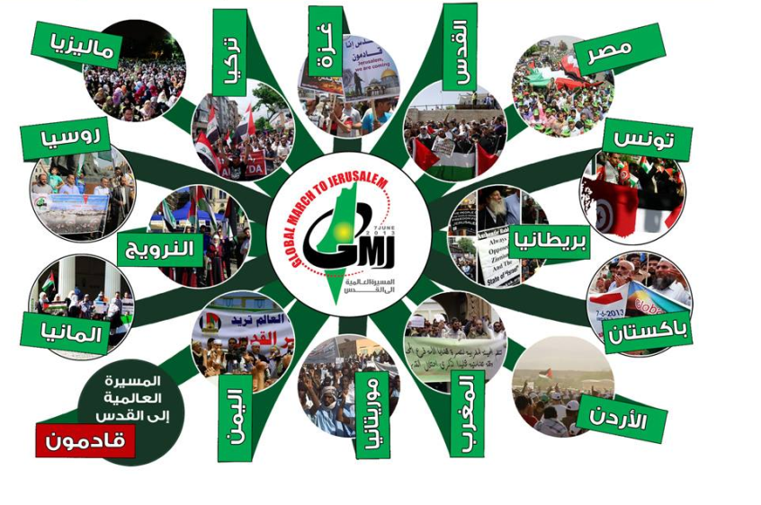 Global March to Jerusalem events around the globe (GMJ website, June 10, 2013). In reality the events received scant media coverage.