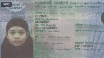 Passport of Momena Shoma, who carried out the ISIS-inspired stabbing attack in Melbourne (The Sydney Morning Herald, February 11, 2018)