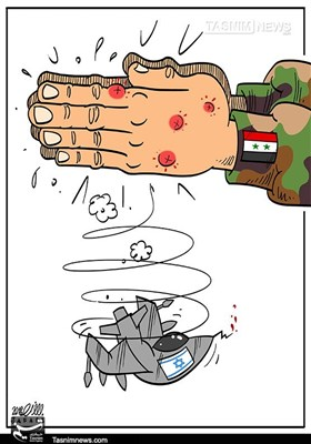 A caricature published by the Tasnim News Agency (February 12) following the downing of the Israeli jet.