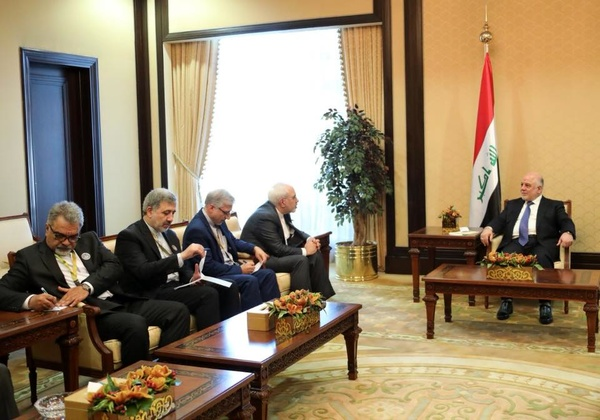 The meeting between the Iraqi prime minister and Iran's minister of foreign affairs (Asr-e Iran, February 14, 2018).