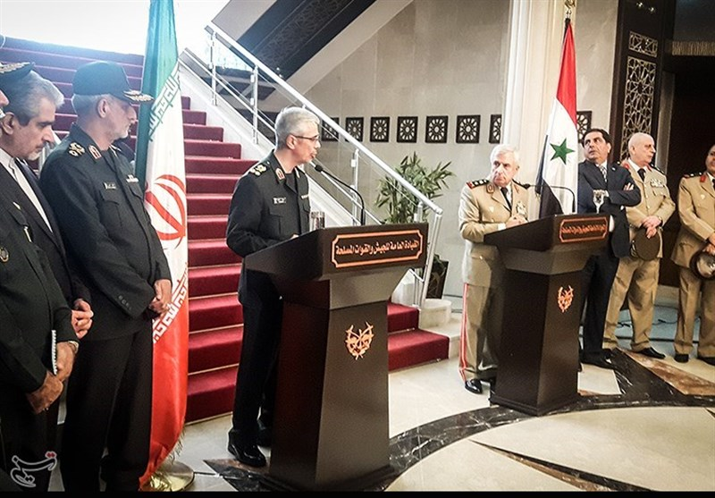 Iranian Chief of Staff Bagheri at a press conference with his Syrian counterpart (Tasnim, October 18)