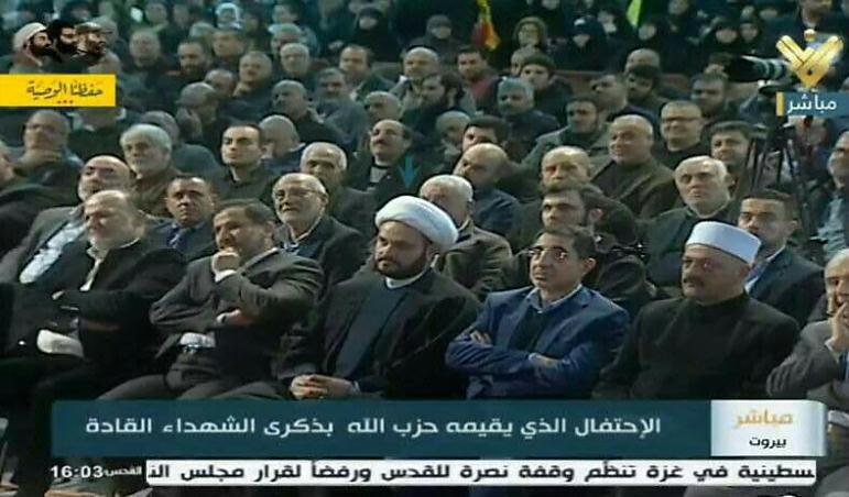 Sheikh Akram al-Kaabi (center) at a Hezbollah rally in Beirut commemorating three senior Hezbollah leaders held on February 16, 2018 (Facebook page of the al-Nujaba movement in Syria, February 17, 2018).