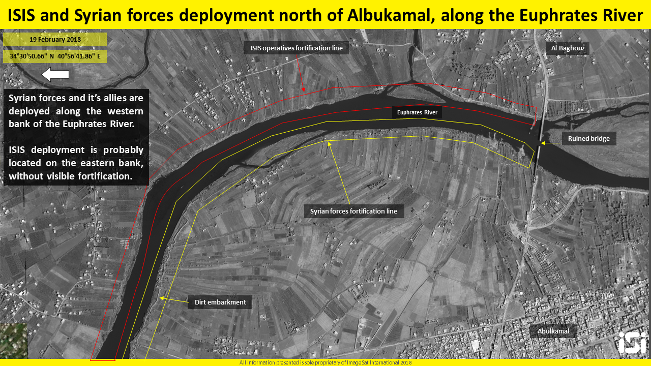 Deployment of ISIS and the Syrian forces near Albukamal. Photography and interpretation: ImageSat International (ISI)