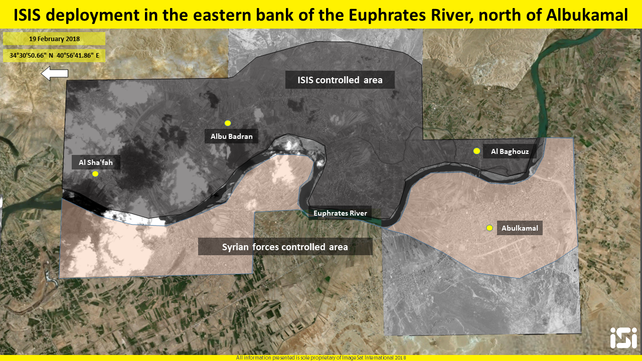 ISIS's control area along the east bank of the Euphrates River north of Albukamal. Today, this is ISIS's most active operational area since the fall of the Islamic State. Photography and interpretation: ImageSat International (ISI)