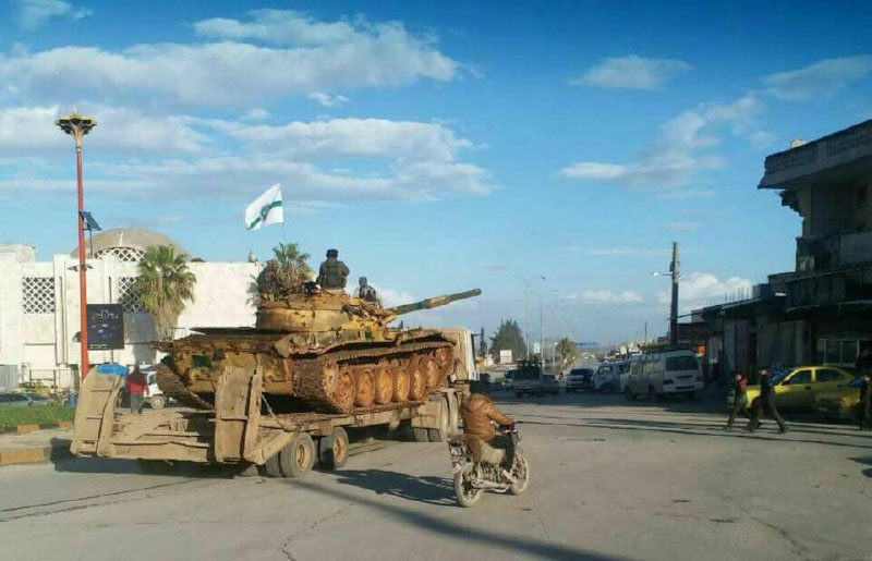 Tanks and artillery of the Headquarters for the Liberation of Al-Sham transferred from Idlib to fight rival rebel organizations (Furat Post Facebook page, February 27, 2018)