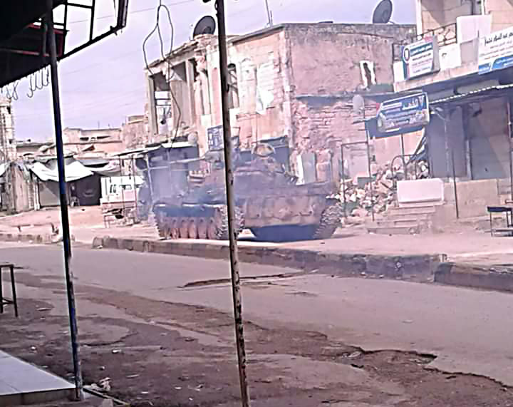 Tanks of the Headquarters for the Liberation of Al-Sham which took over the city of Maarrat Misrin north of Idlib (Furat Post Facebook page, March 1, 2018)