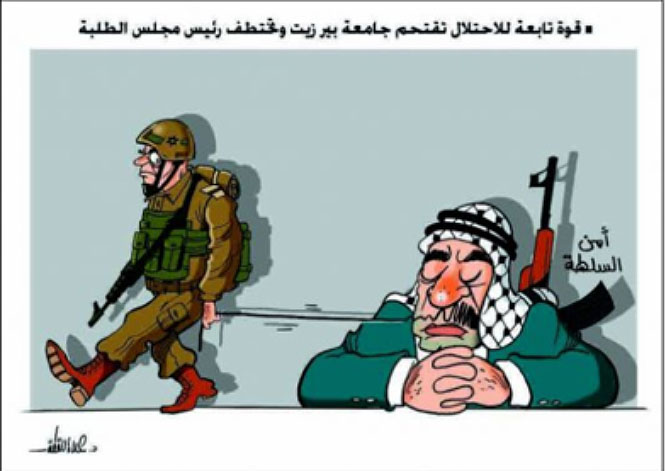 Hamas cartoon criticizing the PA security forces following the detention of the chairman of the students' association at Bir Zeit University. The Arabic at the right reads,