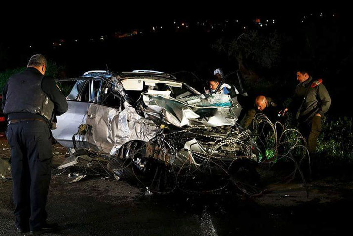 The vehicle used by the Palestinian in the vehicular attack in northern Samaria (Palinfo Twitter account, March 16, 2018).