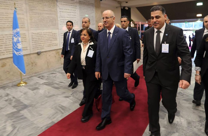 PA Prime Minister Rami Hamdallah arriving at the UNRWA ministers conference in Rome (Facebook page of Rami Hamdallah, March 15, 2018).