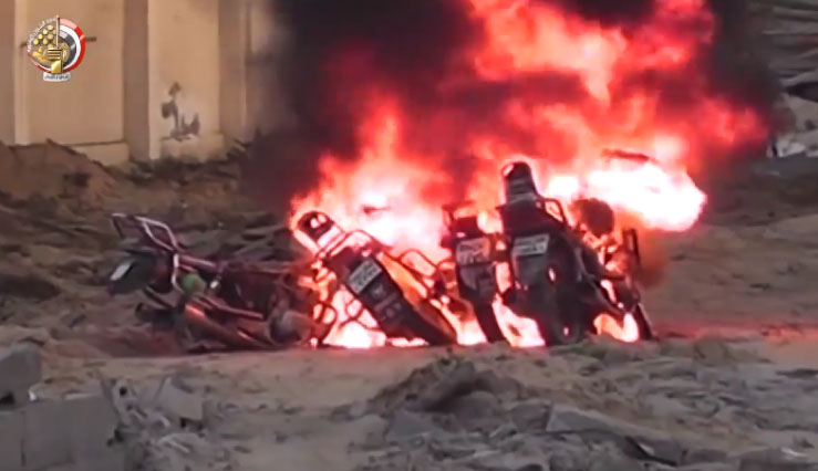 Motorcycles going up in flames after being set on fire by the Egyptian army (official Facebook page of the Egyptian armed forces, March 18, 2018)
