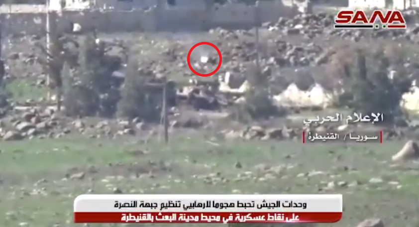 Anti-tank missile fired by the Syrian army at an armored vehicle of the Headquarters for the Liberation of Al-Sham.