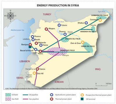 The oil and gas fields in Syria (Washington Institute, USA, January 4, 2017)