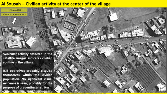 The village of Al-Sousa situated 7 km northwest of Albukamal. The bustling activity in the village is in stark contradiction to the sparse civilian activity in Albukamal. Photography and interpretation: ImageSat International (ISI)