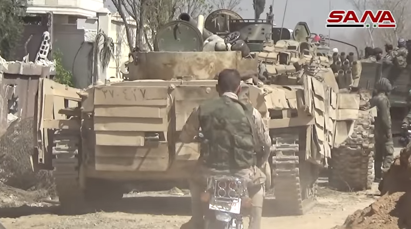 Syrian army tanks during the attack in eastern Al-Ghouta (Butulat Al-Jaysh Al-Suri, March 11, 2018; SANA's YouTube channel, March 12, 2018)