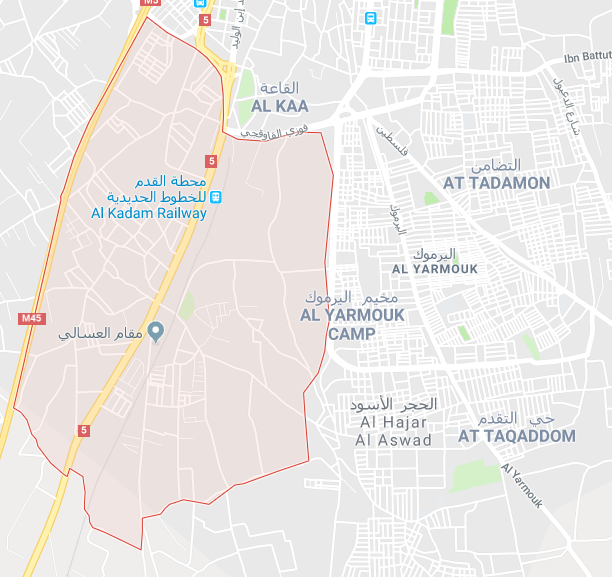 The neighborhood of Al-Qadam (in red) west of the Yarmouk refugee camp (Google Maps)